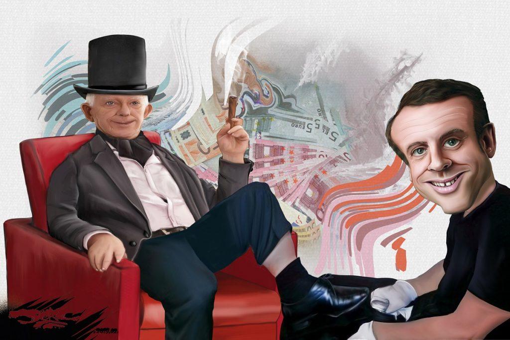 dessin d'actualité humoristique sur le rapport entre Emmanuel Macron et la Finance