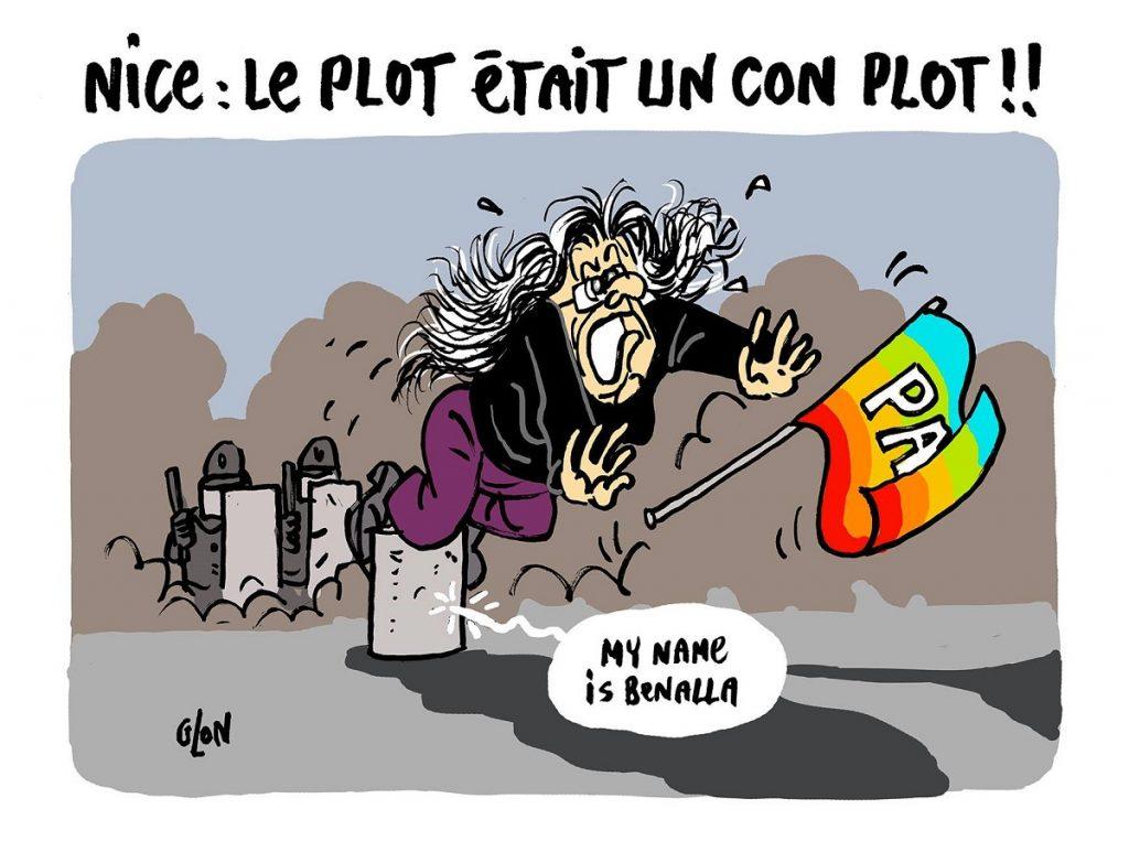 dessin d'actualité humoristique sur la manifestante de 73 ans blessée à Nice