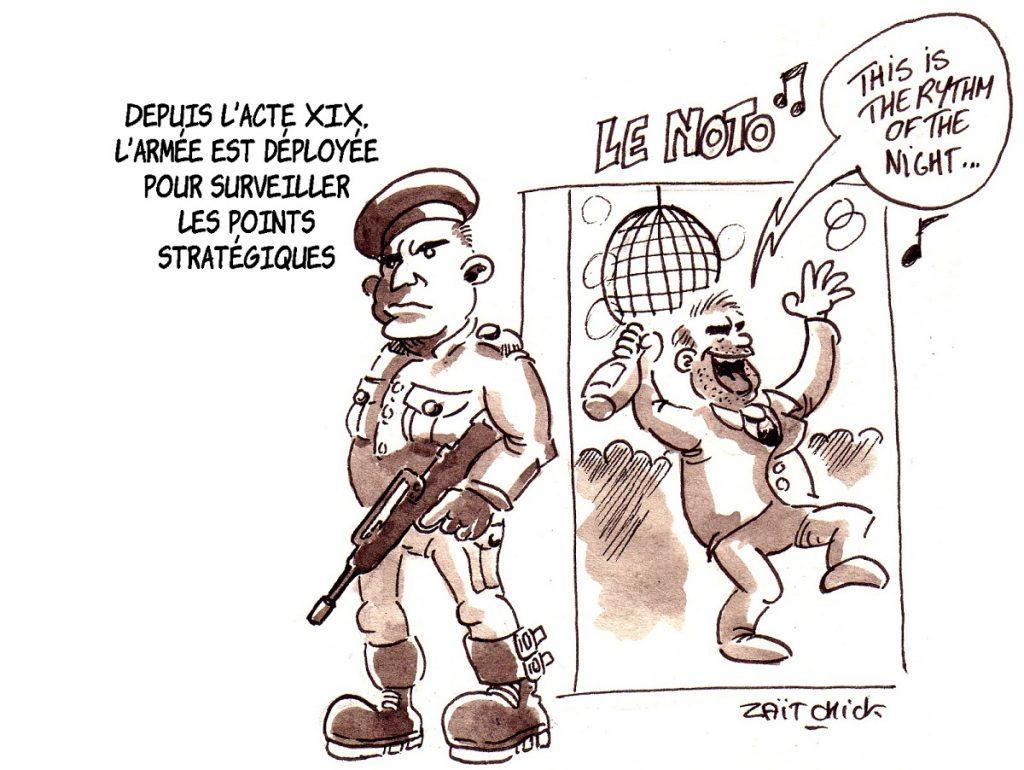 dessin d'actualité humoristique sur la soirée en boîte de nuit de Christophe Castaner