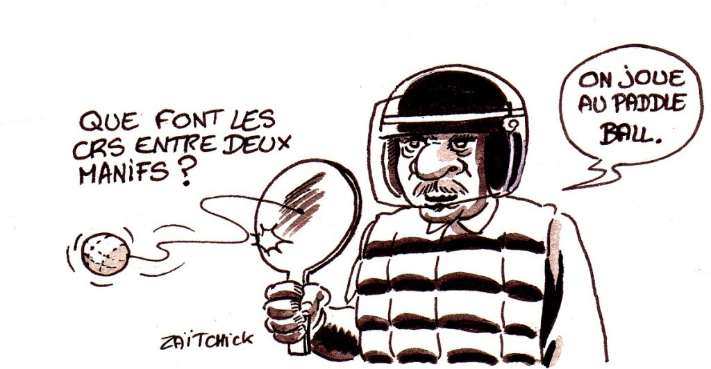 dessin d'actualité humoristique sur les loisirs des CRS entre deux manifestations