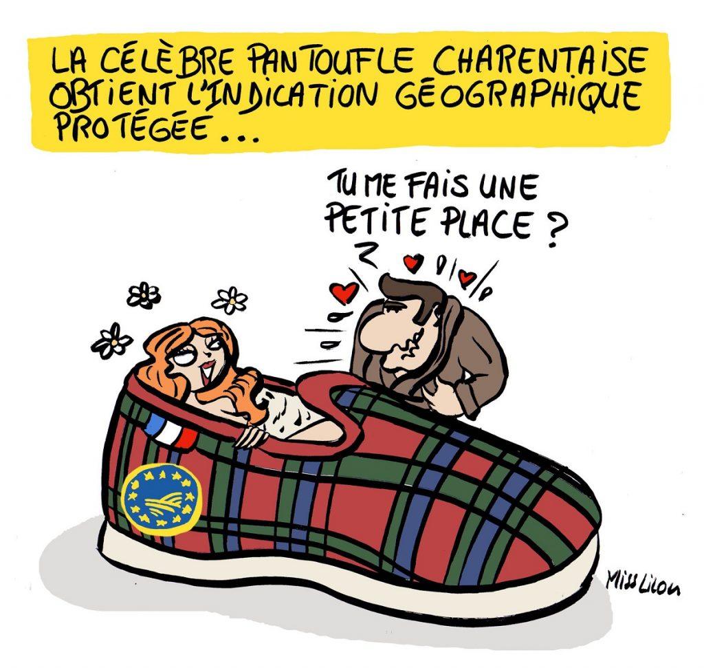 dessin d'actualité humoristique sur l'obtention de l'Indication Géographique Protégée pour la pantoufle charentaise