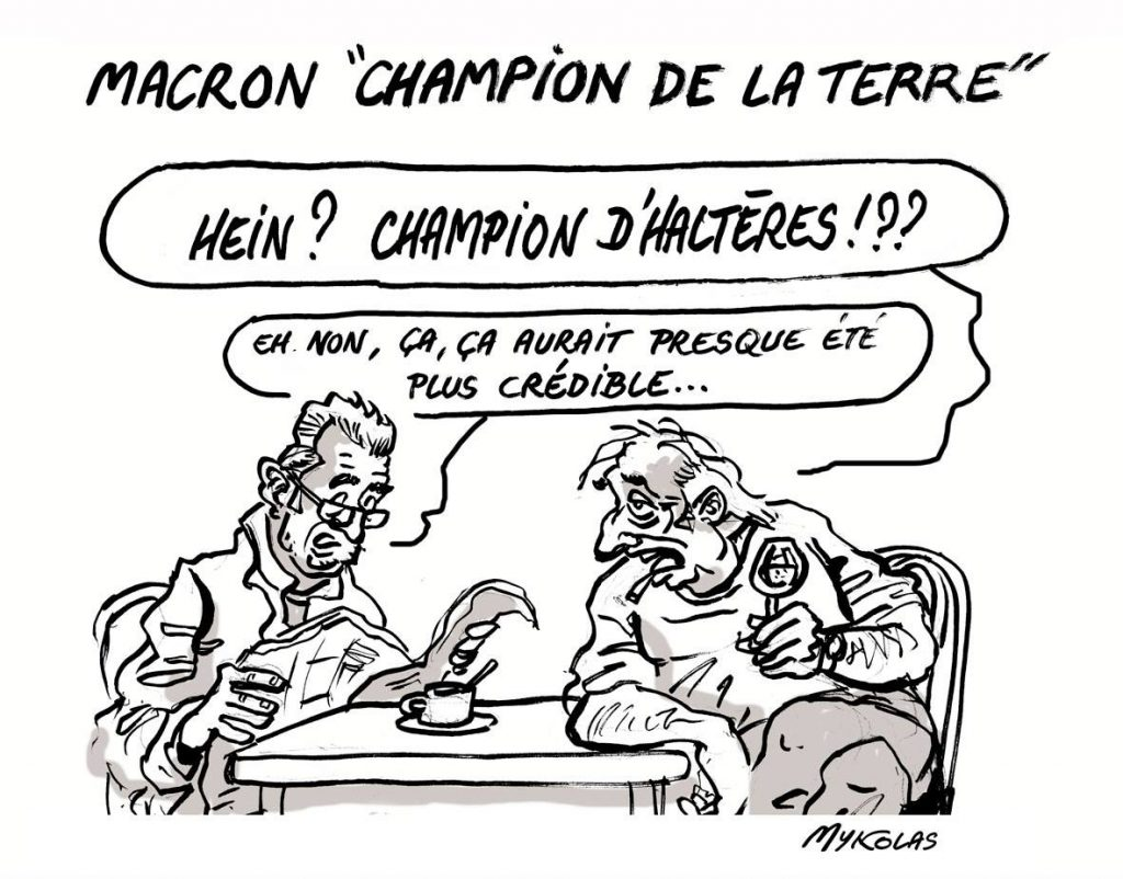 dessin d'actualité sur la volonté d'Emmanuel Macron d'accélérer la transition écologique