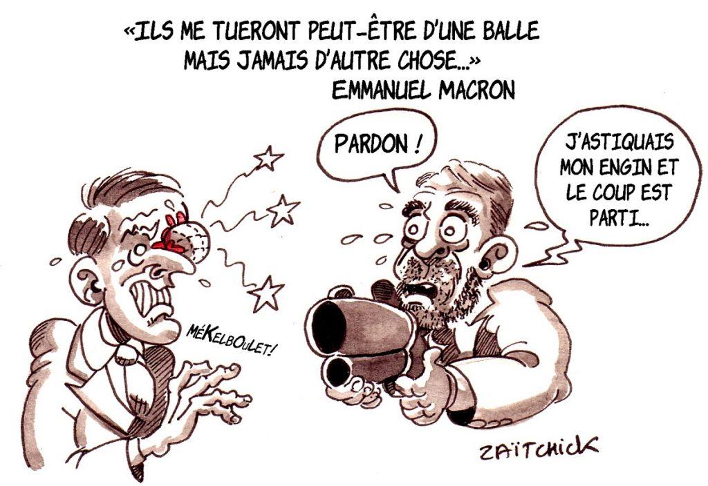 dessin d'actualité humoristique sur les petites phrases d'Emmanuel Macron et Christophe Castaner