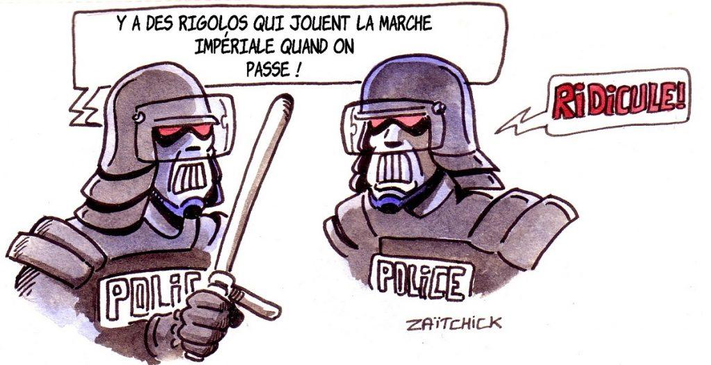 dessin d'actualité humoristique sur le trompettiste qui a joué la Marche Impériale de Star Wars sur le passage des CRS