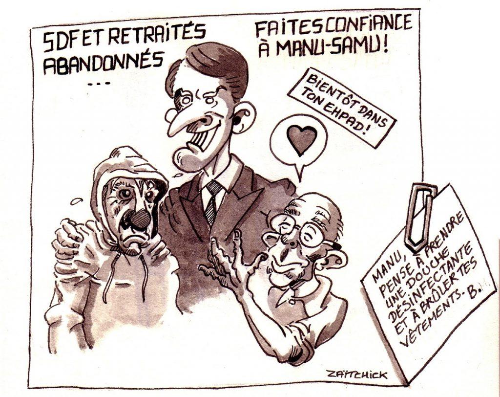 dessin d'actualité humoristique sur Emmanuel Macron et son soudain intérêt pour les SDF et les retraités