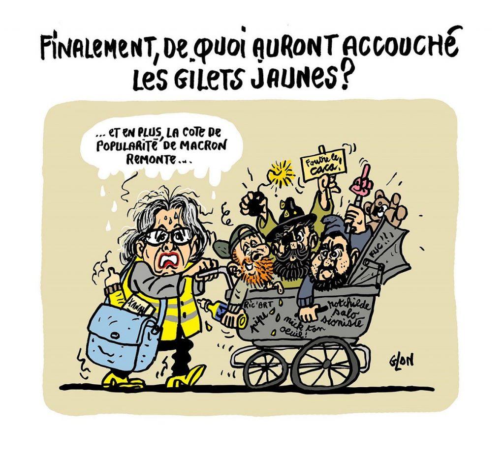 dessin d'actualité humoristique sur le mouvement des gilets jaunes
