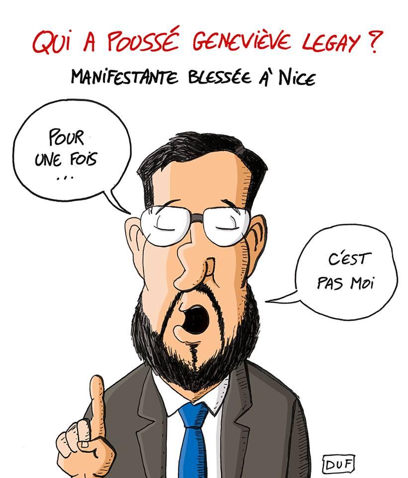 dessin d'actualité humoristique sur la manifestante de 73 ans blessée à Nice et Alexandre Benalla