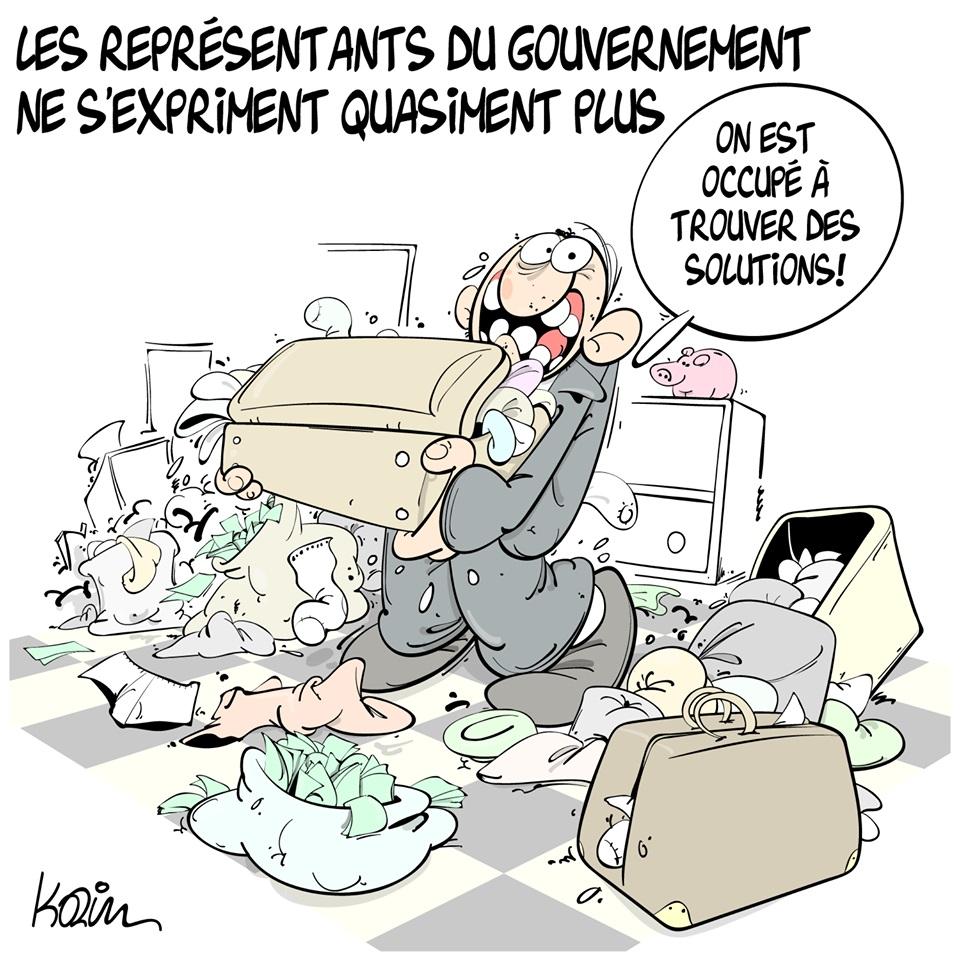 dessin d'actualité humoristique sur le silence actuel des représentants du gouvernement algérien