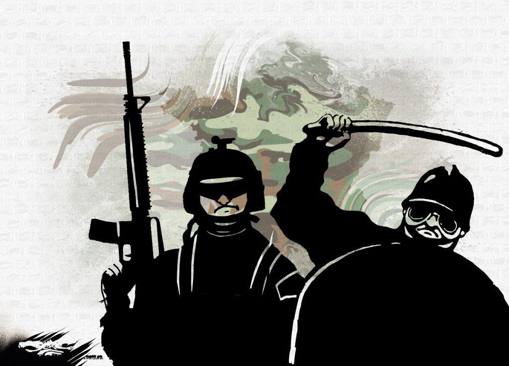 dessin d'actualité humoristique sur le glissement de la France vers un état policier