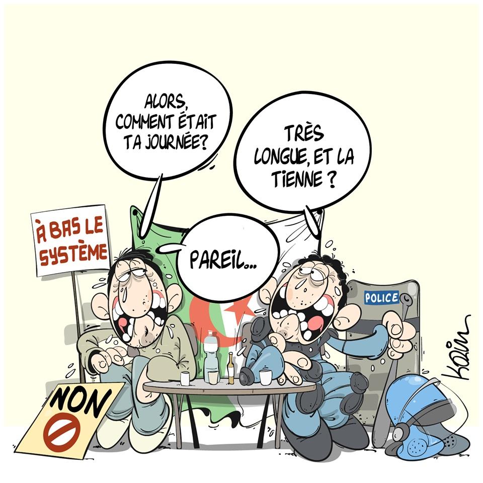 dessin d'actualité humoristique sur la contestation en Algérie contre la candidature d'Abdelaziz Bouteflika