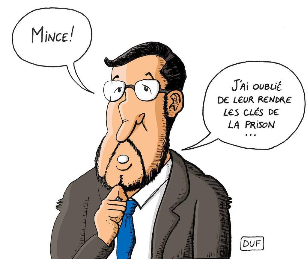 dessin d'actualité humoristique sur la remise en liberté d'Alexandre Benalla