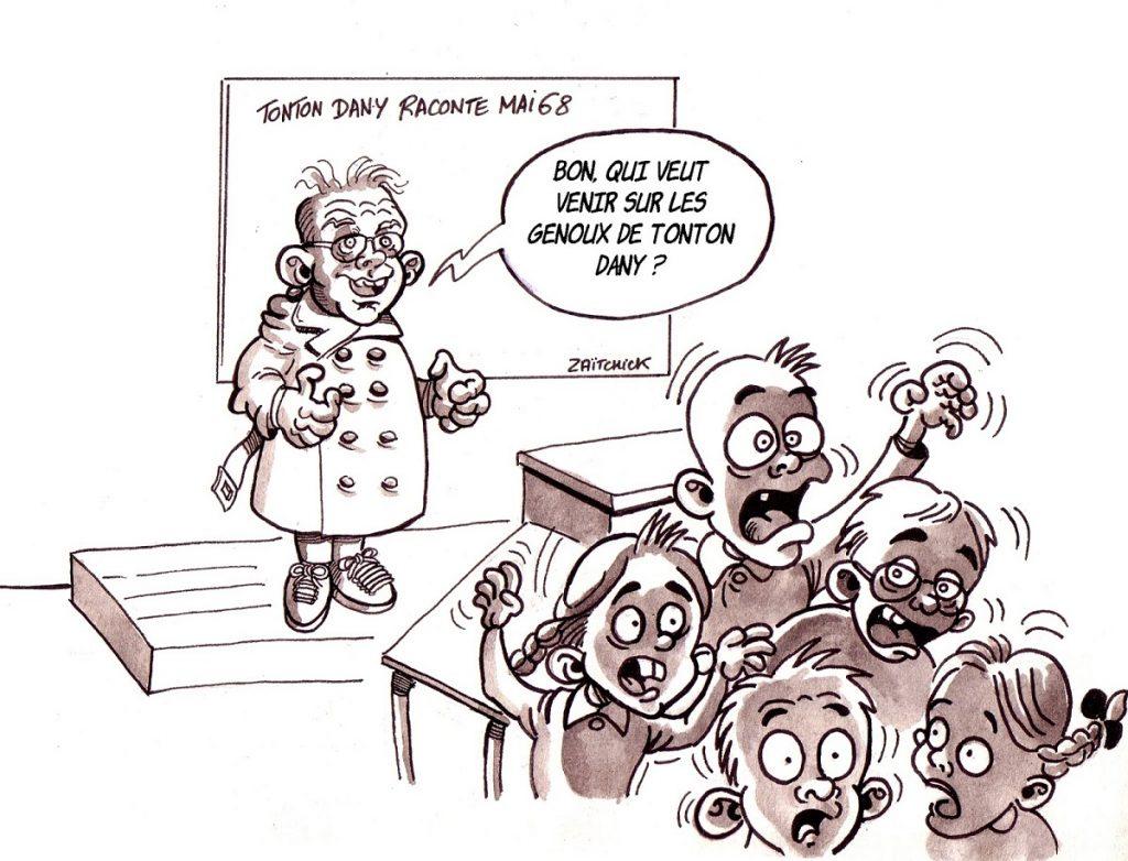dessin d'actualité humoristique sur Daniel Cohn-Bendit, les enfants et le mouvement des gilets jaunes