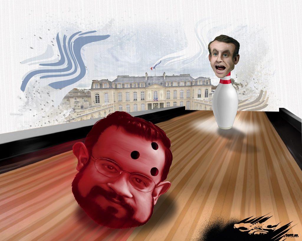 dessin d'atualité humoristique sur Emmanuel Macron et le scandale de l'affaire Alexandre Benalla