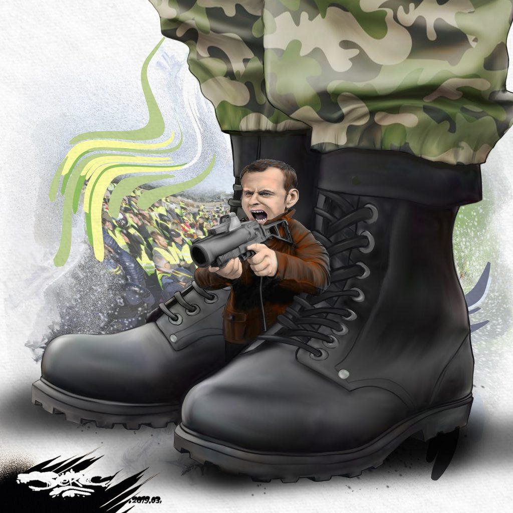 dessin d'actualité humoristique sur Emmanuel Macron, l'usage du flashball et l'appel à l'opération sentinelle