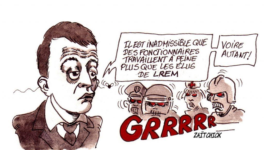 dessin d'actualité humoristique sur Gérald Darmanin et le temps de travail des fonctionnaires