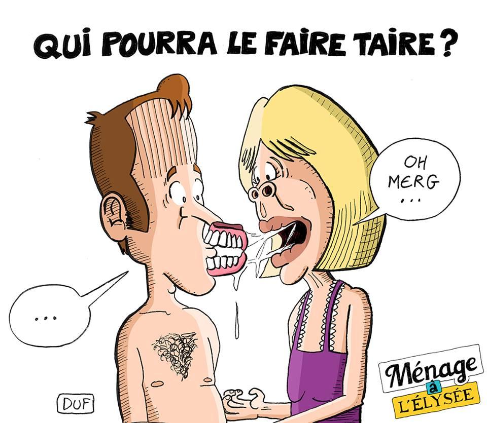 dessin d'humour sur le couple présidentiel et le dentier de Brigitte Macron