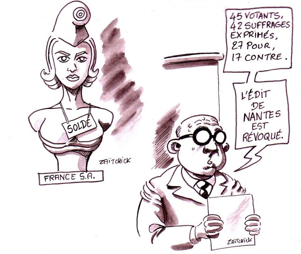 dessin d'actualité humoristique sur le vote des députés le 15 mars 2019 à 6 heures du matin pour la privatisation d'ADP