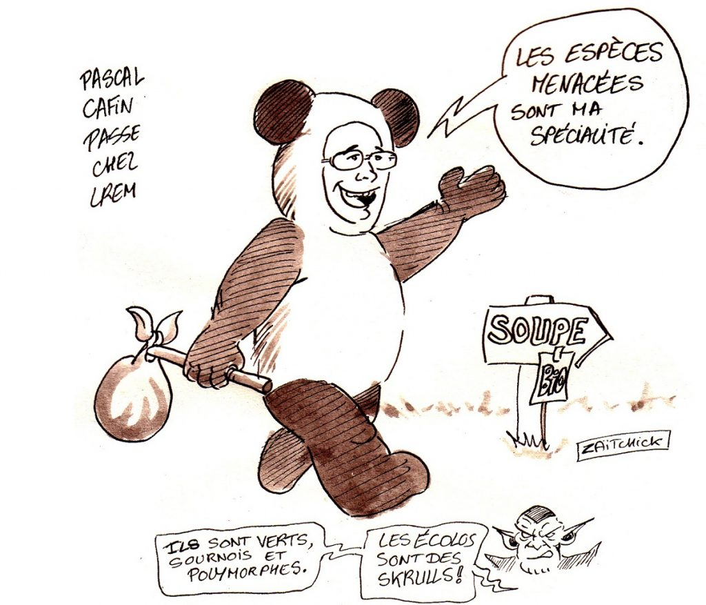 dessin d'actualité humoristique sur le retournement de veste de Pascal Canfin qui se présente sur la liste LREM
