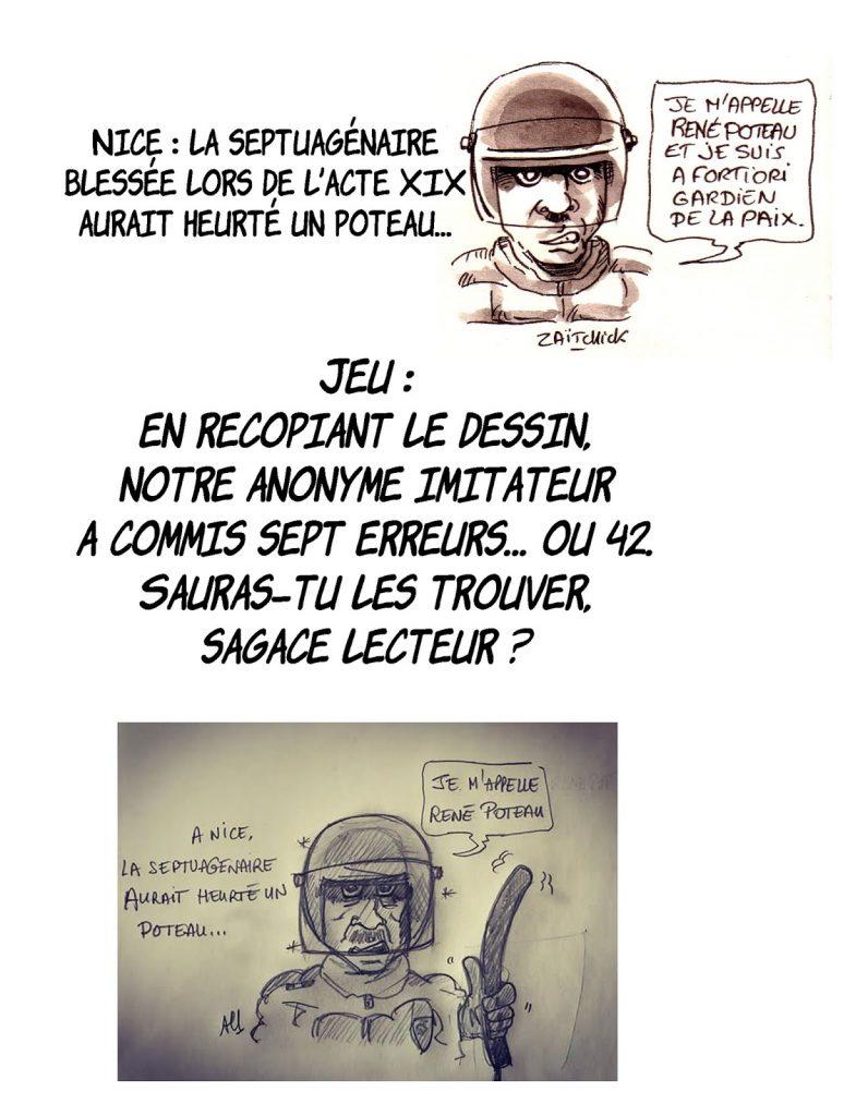 dessin d'actualité humoristique sur la copie d'un dessin de Zaïtchick sur l'Affaire Legay