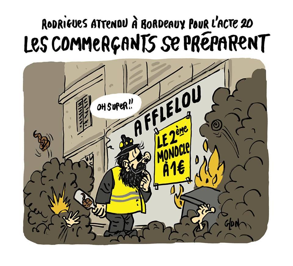dessin d'actualité humoristique sur l'acte 20 des Gilets Jaunes et la présence de Jérôme Rodrigues à Bordeaux
