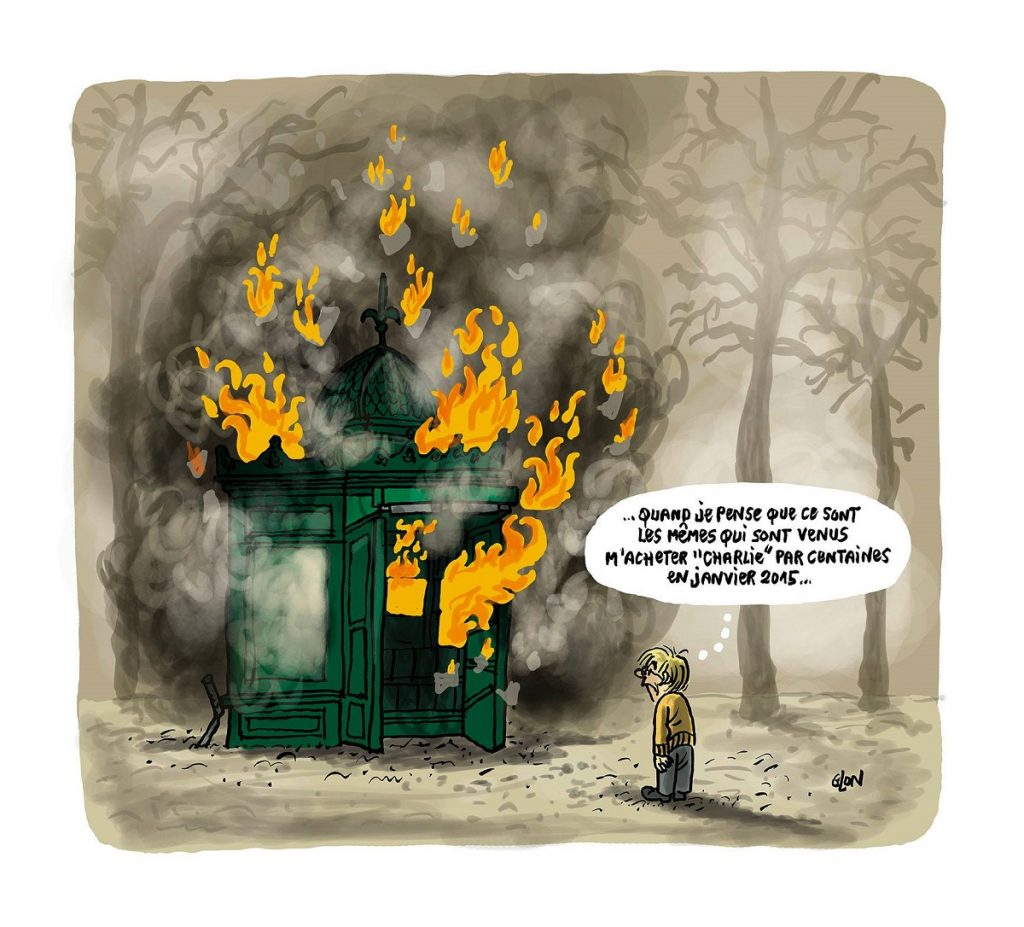 dessin d'actualité humoristique sur la destruction de commerces lors du mouvement des gilets jaunes
