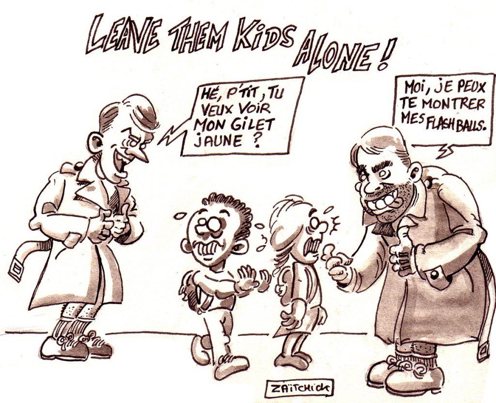 dessin d'actualité humoristique sur le Grand Débat National et la rencontre d'Emmanuel Macron avec des enfants