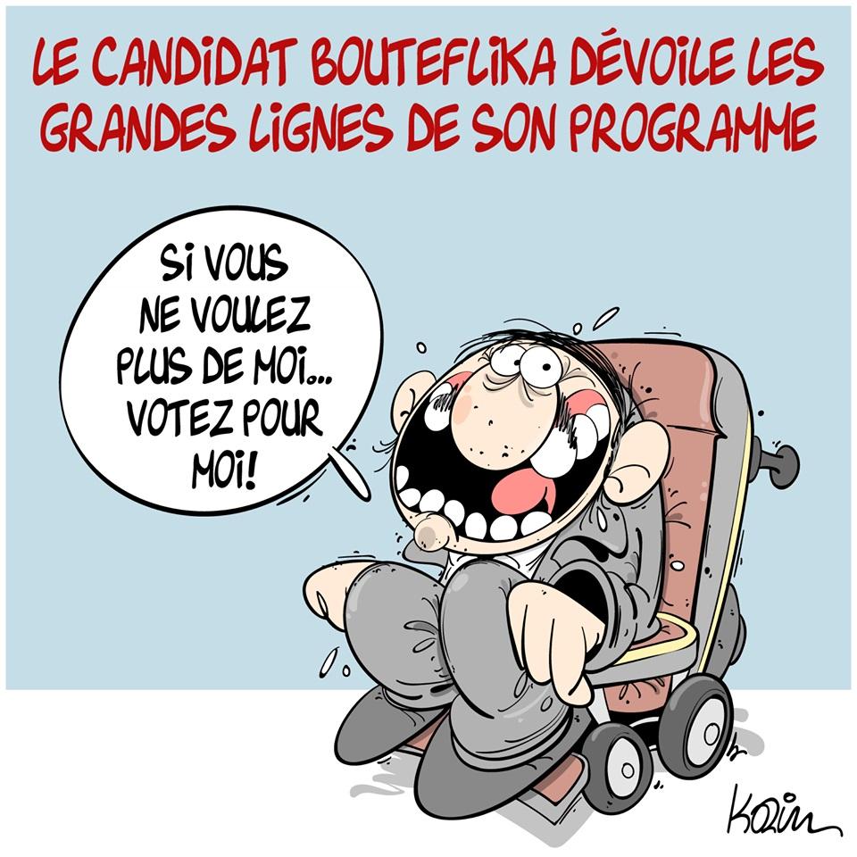 dessin d'actualité humoristique sur la candidature d'Abdelaziz Bouteflika aux présidentielles en Algérie et les grandes lignes de son programme