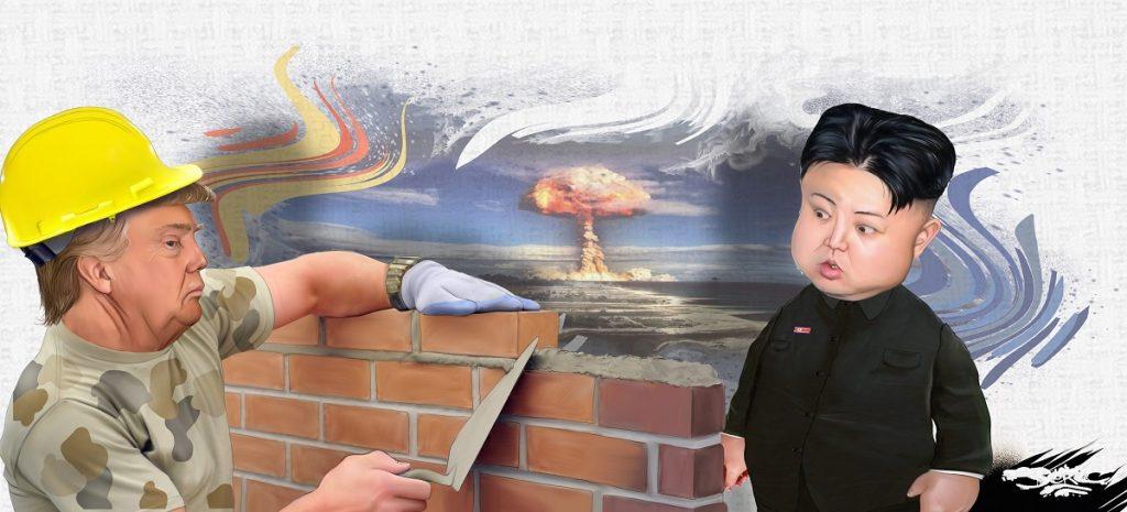 dessin d'actualité humoristique sur Donald Trump, le mur de Trump et Kim Jong-un