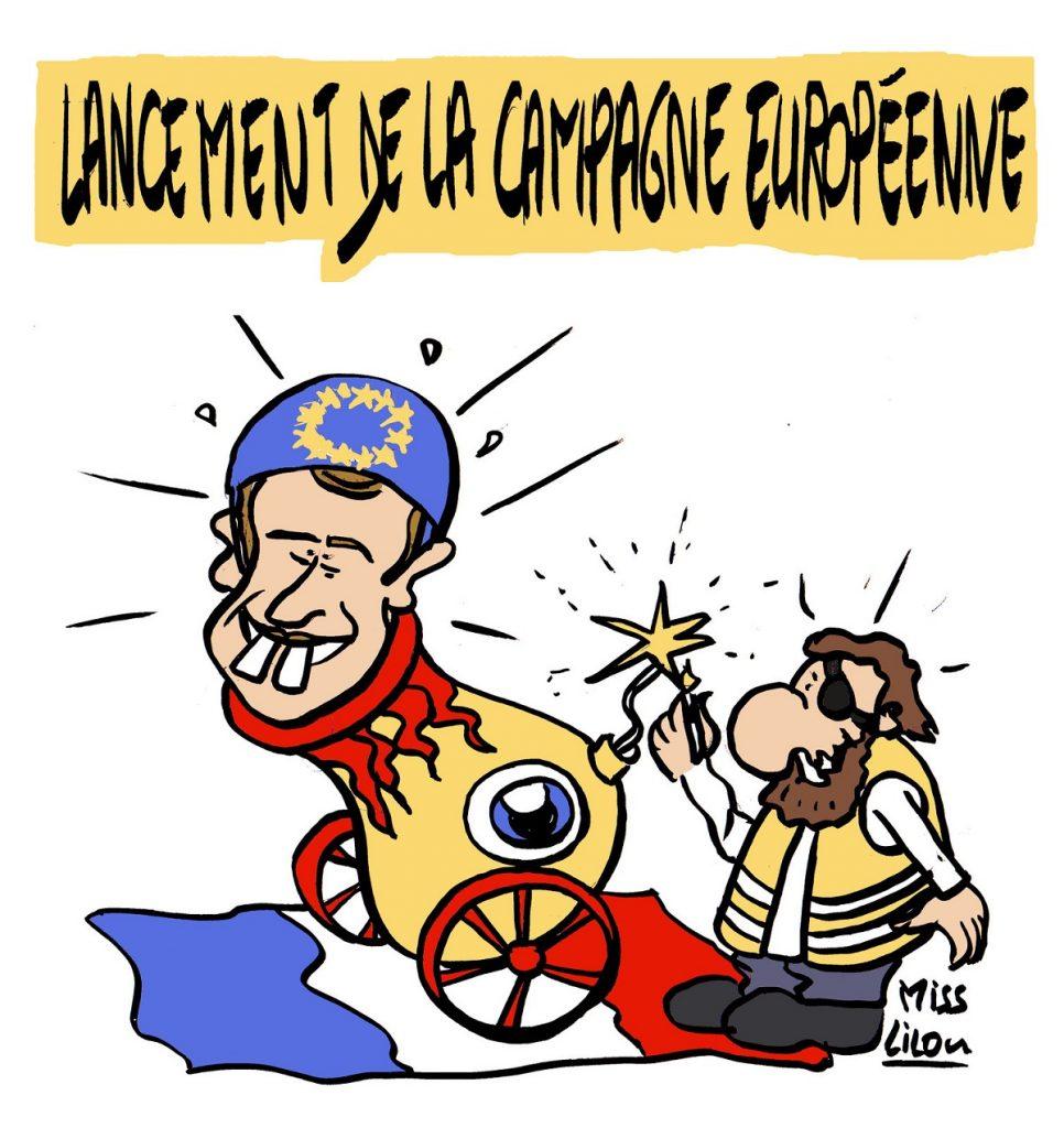 dessin d'actualité humoristique sur le lancement de la campagne des élections européennes