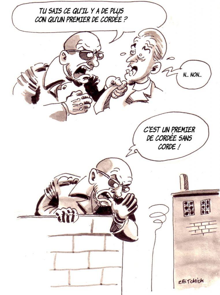 dessin d'actualité humoristique sur les premiers de cordée