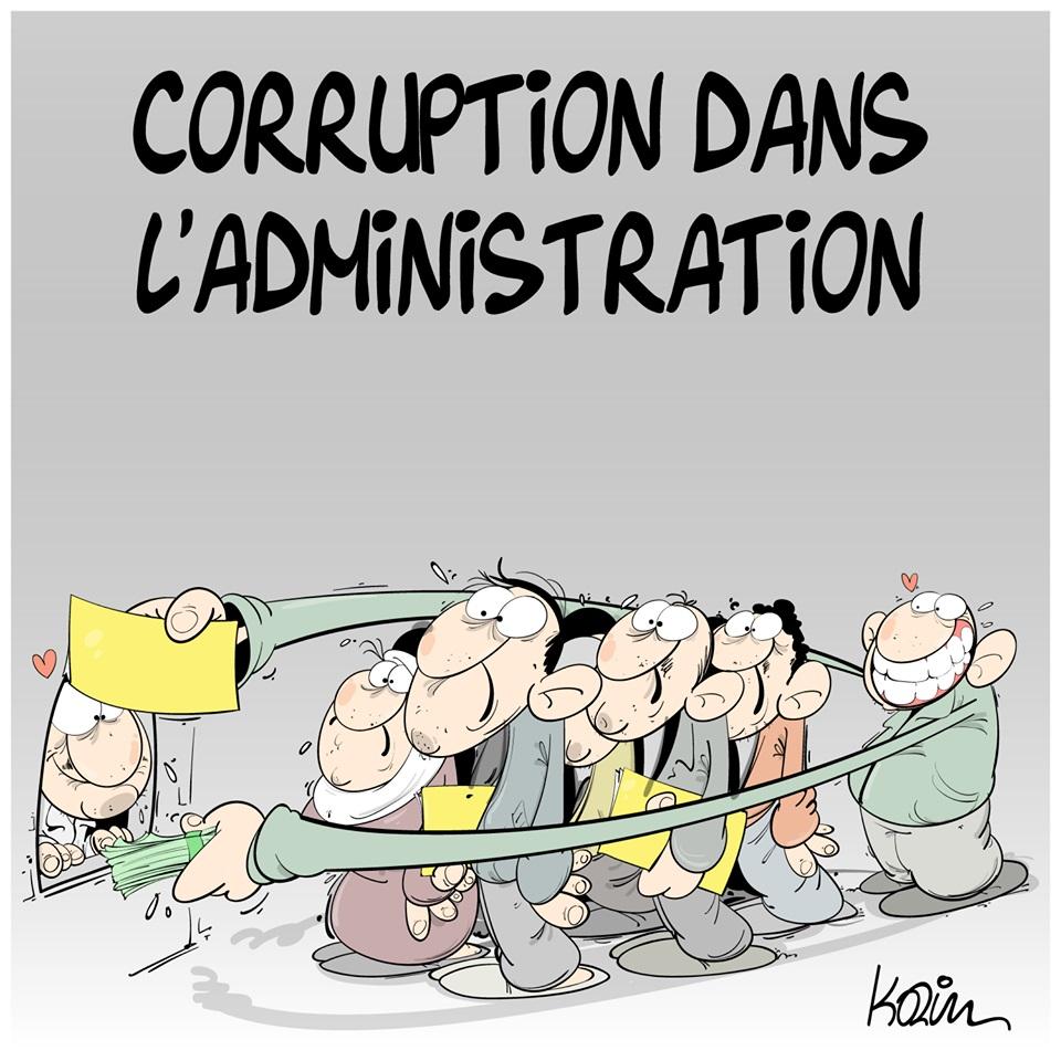dessin d'actualité humoristique sur la corruption dans l'administration algérienne
