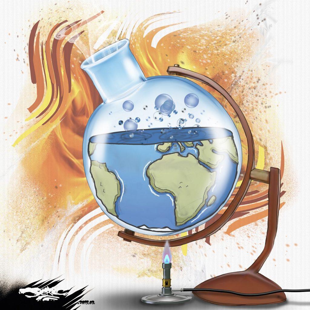 dessin d'actualité humoristique sur le réchauffement climatique