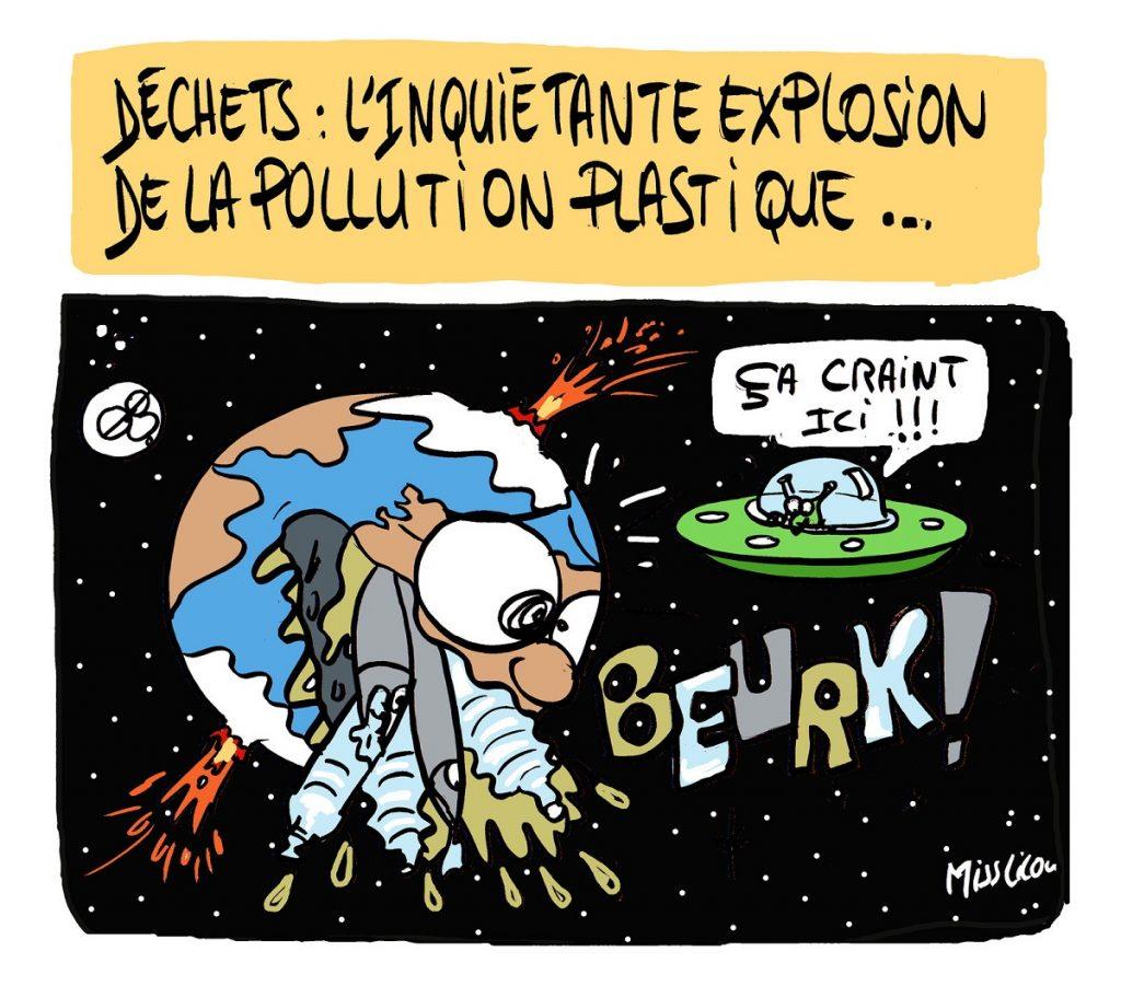 dessin d'actualité humoristique sur l'explosion de la pollution par les plastiques