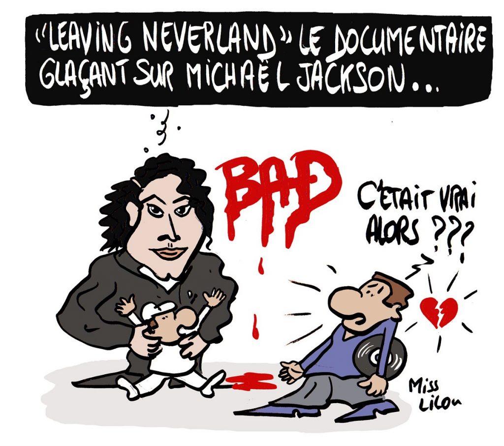 dessin d'actualité humoristique sur la sortie du documentaire « Leaving Neverland » sur Michaël Jackson