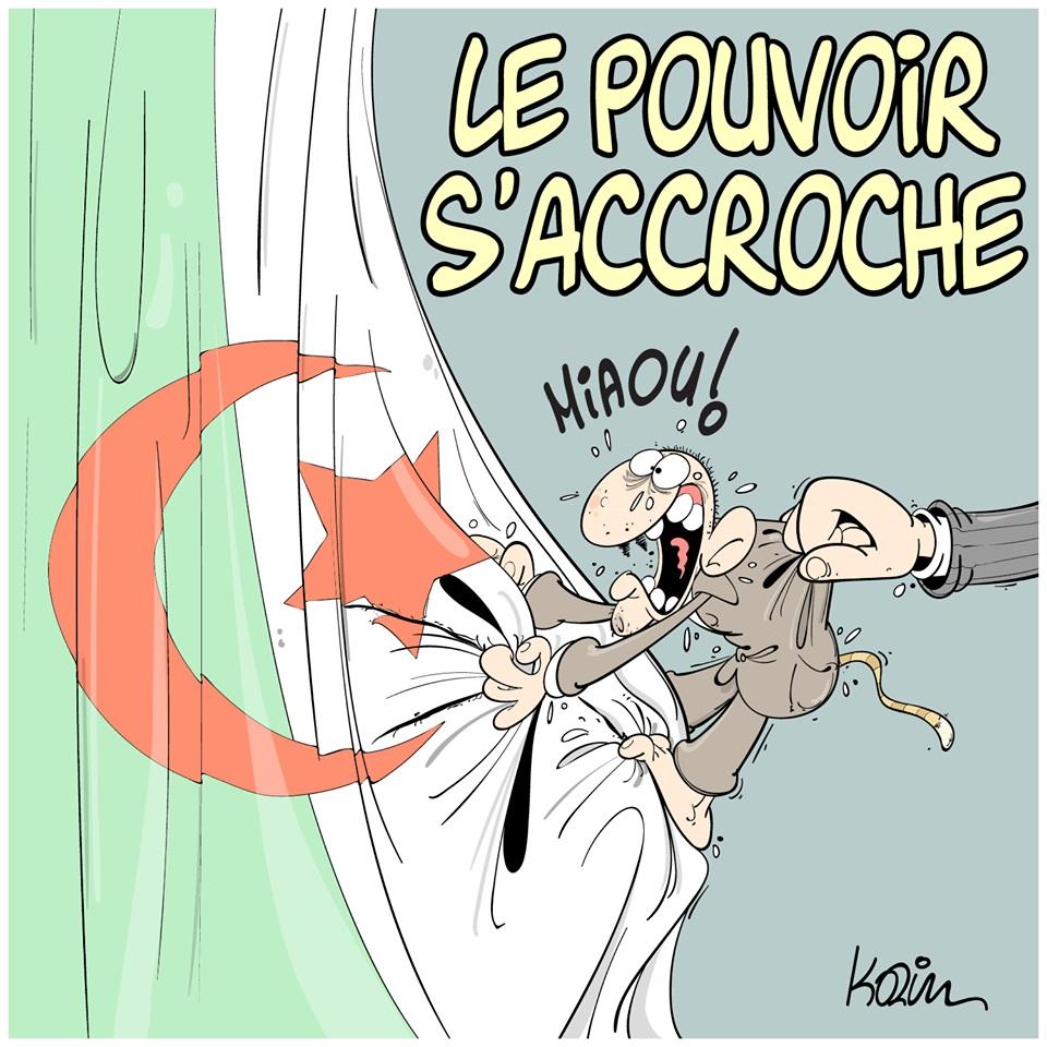 dessin d'actualité humoristique sur le pouvoir qui s'accroche en Algérie