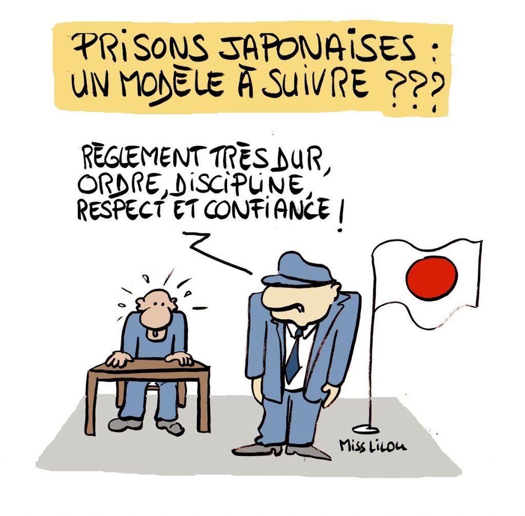 dessin d'actualité humoristique sur les prisons japonaises