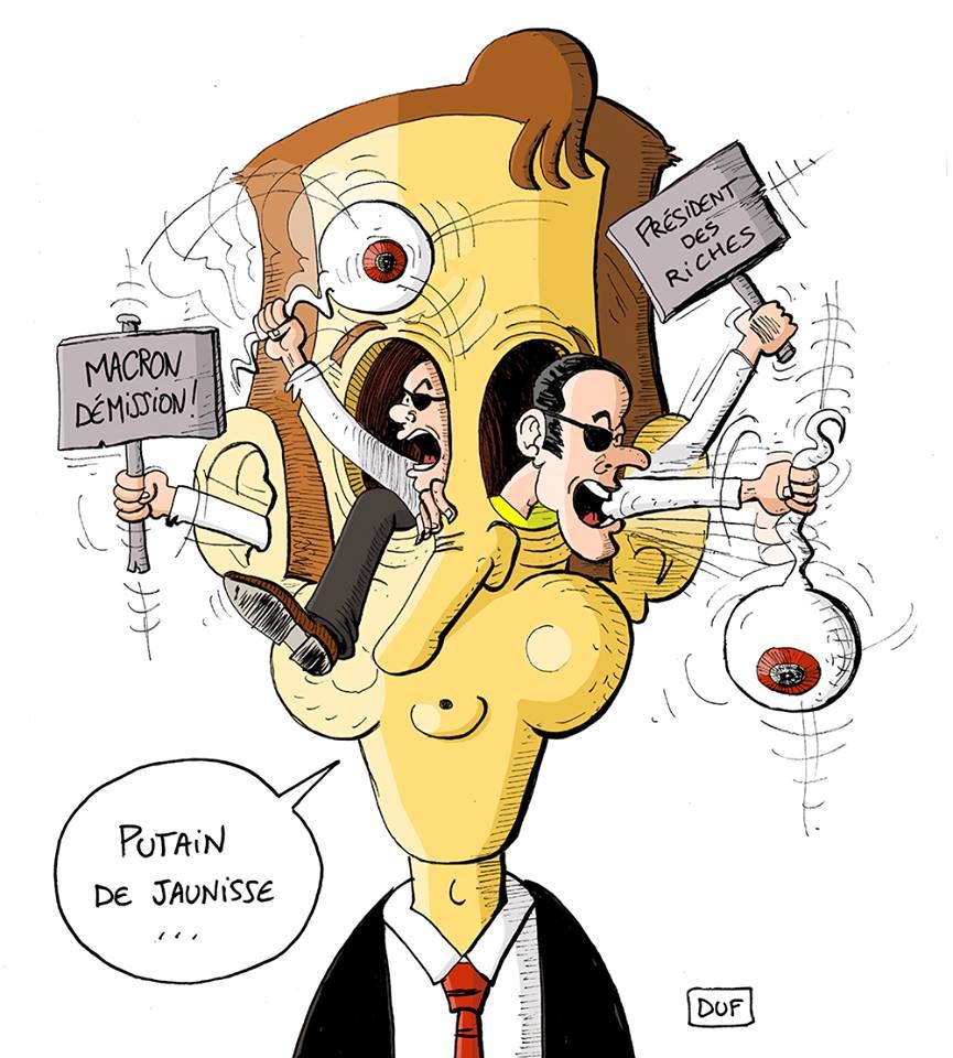 dessin d'actualité humoristique sur Emmanuel Macron malade du mouvement des gilets jaunes