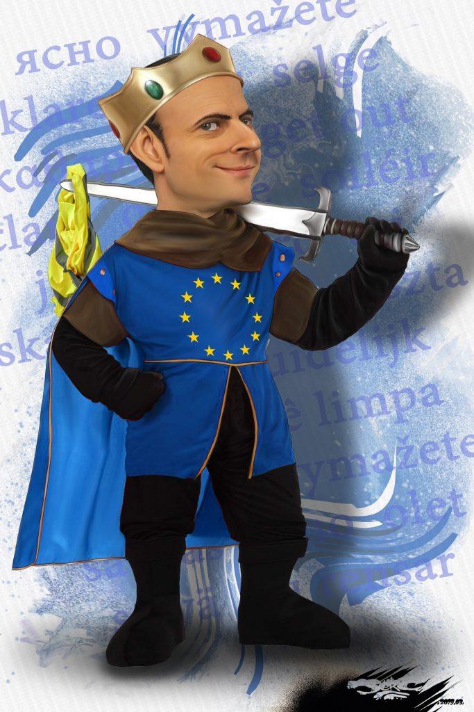 dessin d'actualité humoristique sur le Nouveau Monde d'Emmanuel Macron