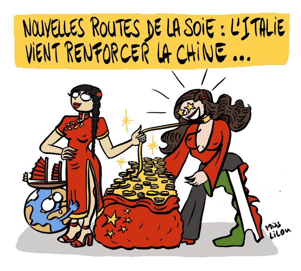 dessin d'actualité humoristique sur les accords conclus entre la Chine et l'Italie