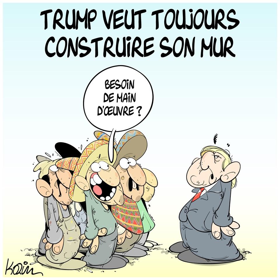 dessin d'actualité humoristique sur le mur de Donald Trump