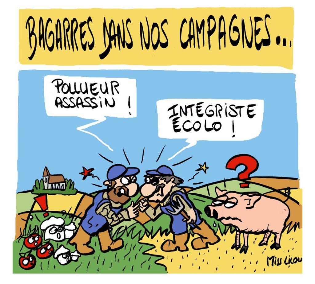 dessin d'actualité humoristique sur les méthodes agricoles