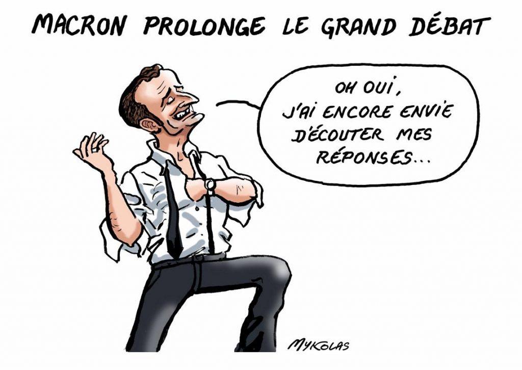 dessin d'actualité humoristique sur Emmanuel Macron et le grand débat national