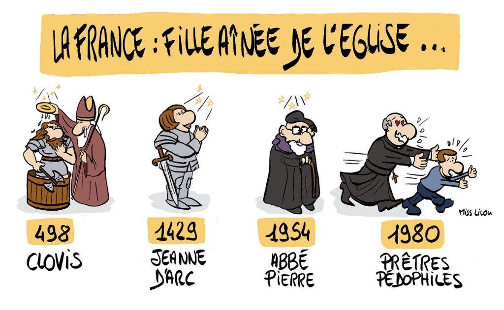 dessin d'actualité humoristique sur la France, fille aînée de l'Église et la crise des prêtres pédophiles