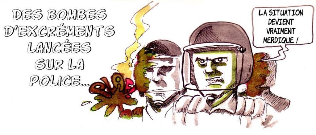 dessin d'actualité humoristique sur les bombes à excréments lancées par les gilets jaunes sur les forces de l'ordre