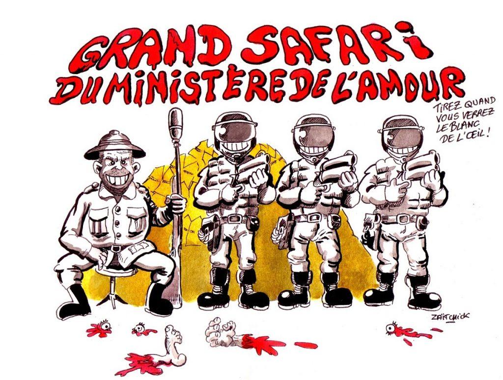 dessin d'actualité humoristique sur le mouvement des gilets jaunes et les violences policières