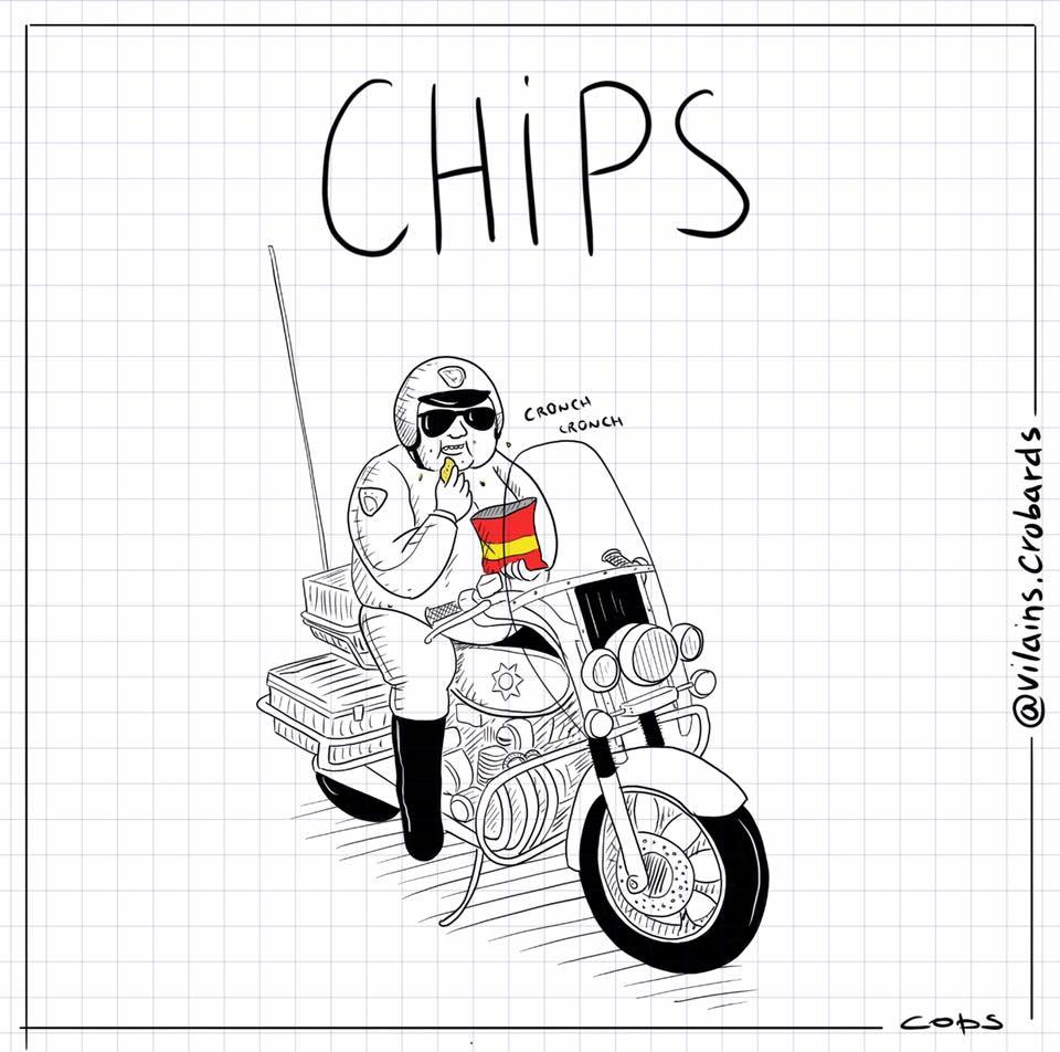 dessin de Cops sur les chips et la série télévisée Chips