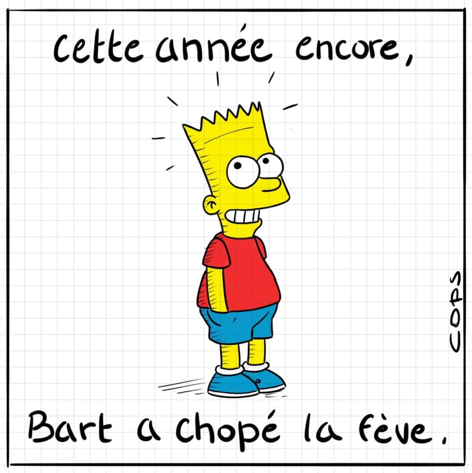 dessin de Cops sur la galette des rois et Bart Simpson ayant trouvé la fève