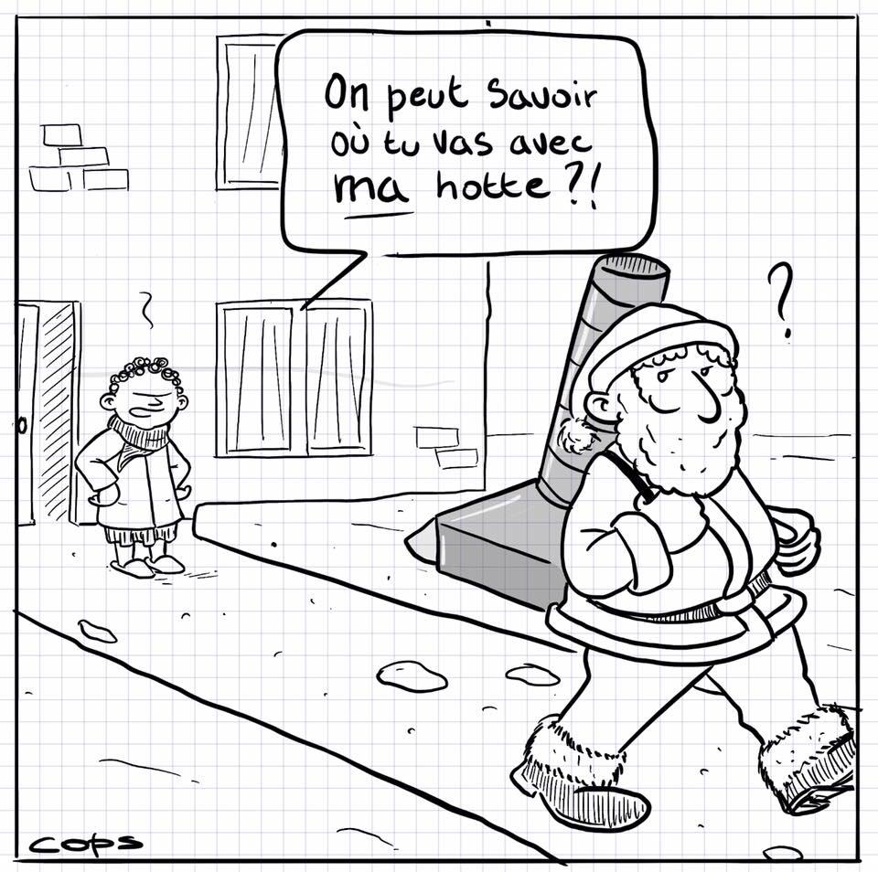 dessin de Cops sur la hotte du Père Noël