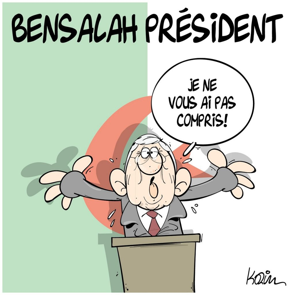 dessin d'actualité humoristique sur la nomination d'Abdelkader Bensalah président par intérim de l'Algérie