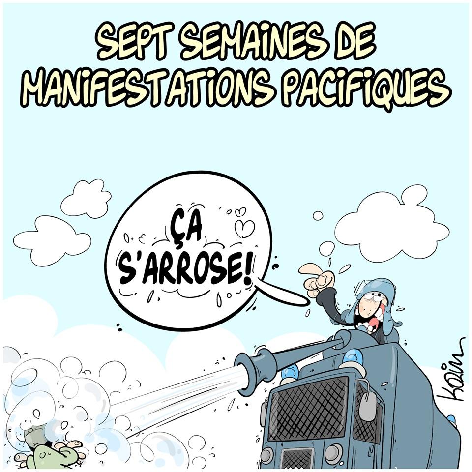 dessin d'actualité humoristique sur la répression policière des sept semaines de manifestations pacifiques en Algérie